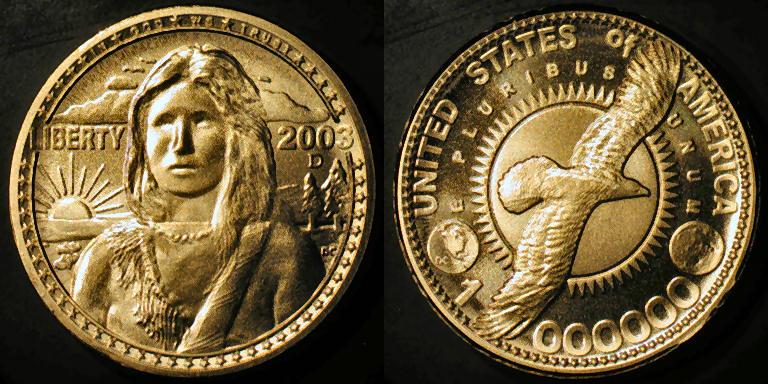 2003 Sacagawea Quot Golden Quot Dollar Prototype Ornate Reverse