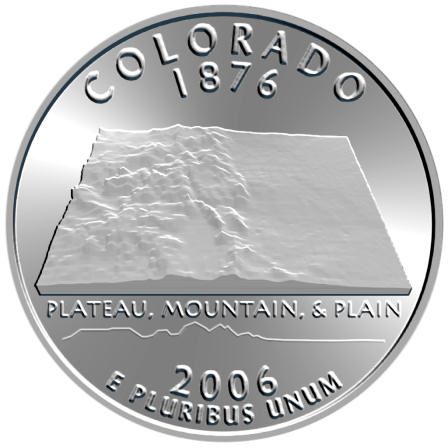 2006 colorado state quarter 3 d map nickel copper