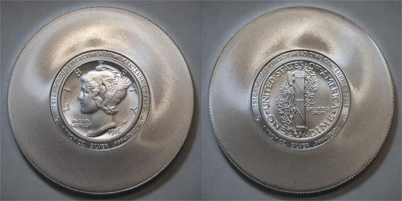 1916 Coins Centennial Set Of 3 Brilliant Satin With Reeded Edge One Troy Oz 999