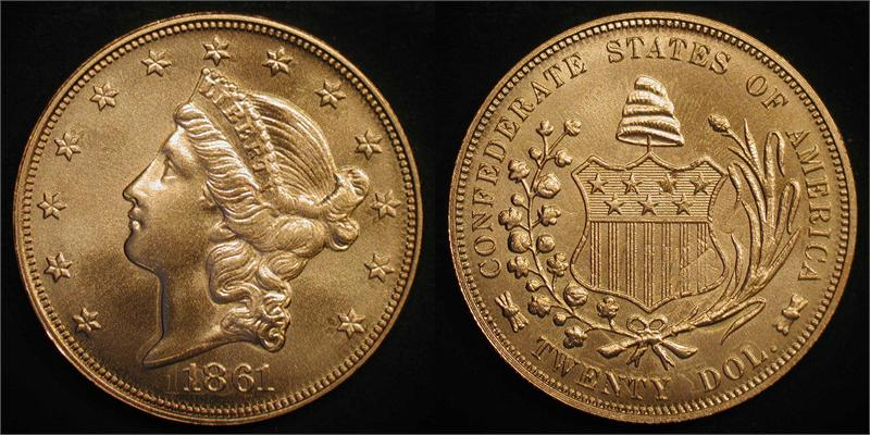 1861 2011 Confederate Double Eagle 900 Gold Over Struck