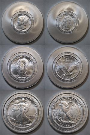 1916 Coins Centennial Set Of 3 Brilliant Satin With
